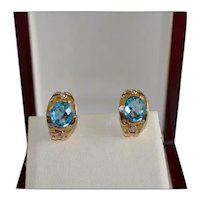 Custom Fine 14K Gold Diamond Topaz Pierced Earrings