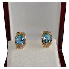 Custom Fine 14K Gold Diamond Topaz Pierced Earrings