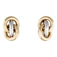 Italian Gold Earrings 14K Two Tone Love Knot Pierced Custom Earrings 10 Grams