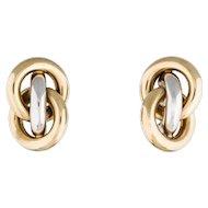 Italian Gold Earrings 14K Two Tone Love Knot Pierced Custom Earrings 10 Grams
