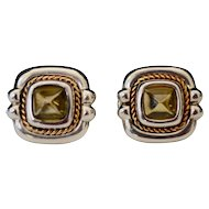 Tiffany & Co Citrine Earring Sterling 18K Gold Cushion Pierced Gemstone Omega