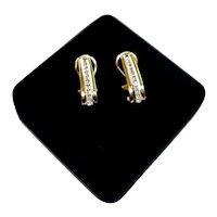 Estate Classic Ladies 14K Gold Diamond J-Hoop Style Pierced Earrings