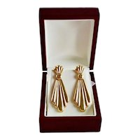 Custom 14K Gold Fluted Jabot Style Dangle Pierced Earrings