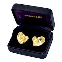 Tiffany & Co 18K Gold Puffy Heart Elsa Peretti Earrings 14 Grams