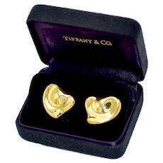 Tiffany & Co 18K Gold Puffy Heart Elsa Peretti Earrings 14 Grams