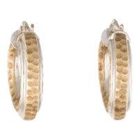 Italian Gold Hammered Earrings 14K Polished Two Tone Huggie Hoop 5 Grams