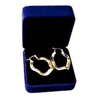 Modernist Sterling Silver Polished Brass Wave Hoop Hoop Earrings