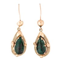 Estate 14K Rose Gold Victorian Revival Chrysocolla Gemstone Dangle Earrings