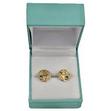 Custom Estate 14K Brushed Gold Ornate Repousse Stud Earrings
