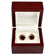 Estate 14K Gold Art Deco Geometric Red Crystal Earrings Studs