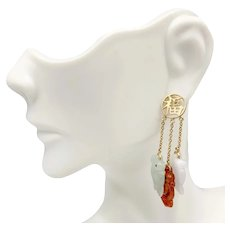 Vintage Hong Kong 14K Gold Triple Jadeite Amulet Frog Dangle Earrings