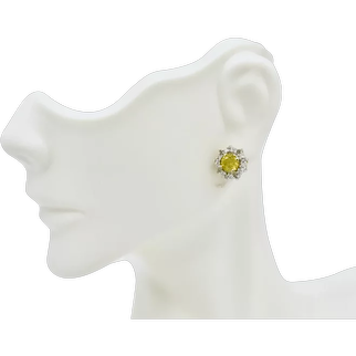 1.70 TCW White / Yellow Diamond Solitaire Halo Surround 14K Earrings