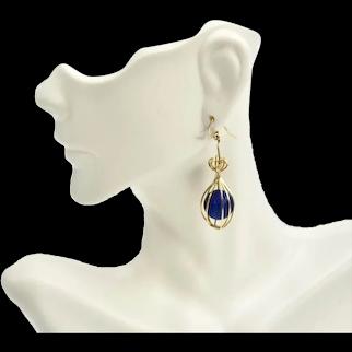 Fancy 14K Gold Filled Caged Lapis Lazuli Pierced Dangle Earrings
