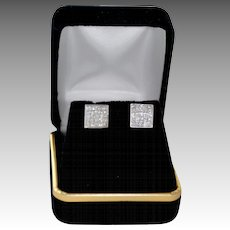 14K Gold 1.50 Carat Princess Cut Diamond Stud Earrings