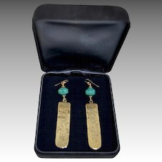 Asian 14K Gold Filled Turquoise / Brass Embossed Drop Pendant Earrings