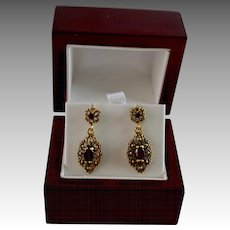 14Kt Gold Filigree Garnet Victorian Style Drop Pierced Earrings