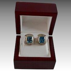 Albion Blue Topaz 14K Gold & Sterling Silver Yurman Earrings