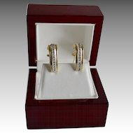 Estate 14K Gold Diamond J-Hoop Style Pierced Earrings