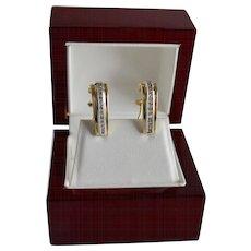 Estate 14K Gold Diamond J-Hoop Style Pierced Earrings