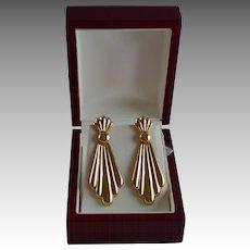Stunning 14K Gold Decorative Jabot Style Dangle Pierced Earrings
