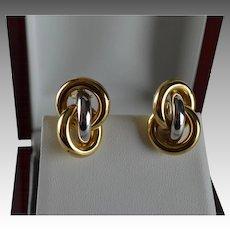 14K Italian Two Tone Gold Interlocking Love Knot Earrings