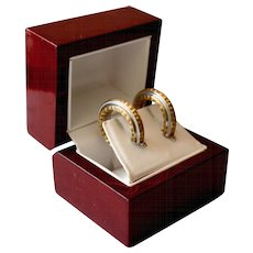 Hammered 14K Polished Gold Two Tone Huggie Hoop Earrings ITALY
