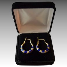 Decorative Revival Style French Enamel 15K gold Wire Hoop Earrings