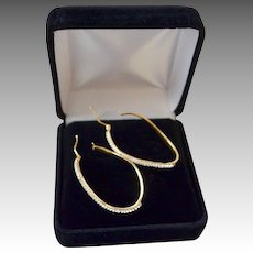 Italian Micro Pave 14K Gold Asymmetrical Hoop Earrings