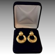 Large 18K Gold Ornate Doorknocker Diva Earrings