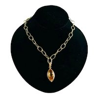 Custom 14K Gold Textured Link Necklace Citrine Marquise Pendant