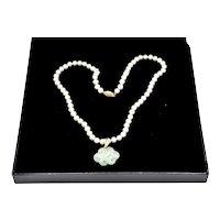 "14K Gold Cultured Pearl Celadon Jadeite 18"" Pendant Necklace"