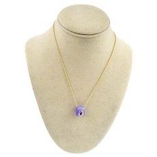 14K Gold Purple Lavender Dyed Jade Amethyst Pendant Necklace