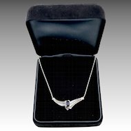 1.47 Carat Sapphire Diamond Estate 14kt Gold Ladies Necklace Italy