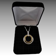 14K Gold, Diamond, Sterling Silver Eternity (Forever) Pendant Necklace