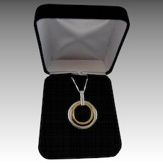 14K Gold, Diamond, Sterling Silver Eternity (Forever) Pendant Necklace