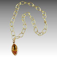 Dramatic 14K Gold Textured Link Necklace Citrine Marquise Pendant