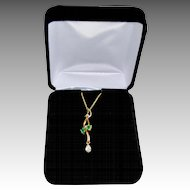 Art Nouveau Style 18K Gold Diamond Emerald Pendant Necklace