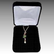 Art Nouveau Style 18K Gold Diamond Emerald Pendant Necklace