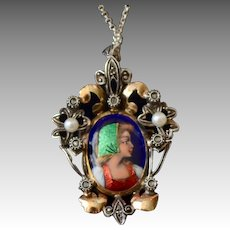 Victorian Style French Limoges Enamel Portrait Pendant Mine Cut Diamonds