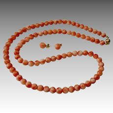 Vintage Natural Salmon Coral Single Bead Strand Necklace Set