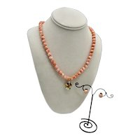 Vintage Natural Angel Skin Salmon Coral Single Strand Beaded Necklace / Earrings 14K