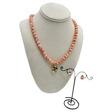 Salmon Coral Single Strand Beaded Necklace Coral Jadeite Enhancer / Earrings 14K