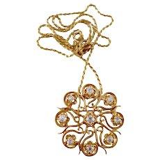 Deco Style 1.08 Carat Old Mine Cut Diamond 14kt Gold Brooch or Pendant