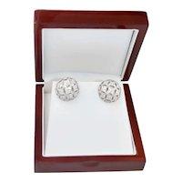 Estate 1.60 Carat Platinum Dome Pierced Diamond Earrings 12 Grams.