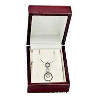 Estate 14kt Gold Sapphire Diamond Pave Trinity Necklace