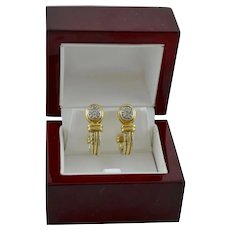 14K Gold Estate Heavy  J-Hoop Earrings Diamond Pave Rope Design