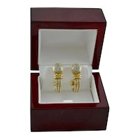 14K Gold Estate Two Tone J-Hoop Earrings Pave Diamond Rope Accent 9 Grams