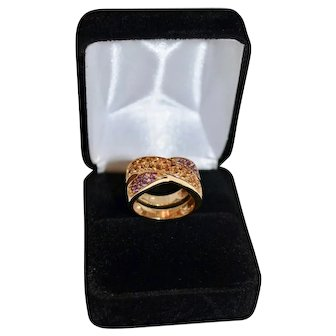 Amethyst / Citrine Ladies 14kt Gold Cross Oval 1.60 Carats Gemstone Ring