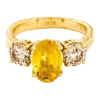 Estate 14K Gold Ring 2.48 Ct Fancy Yellow Sapphire Diamonds Engagement