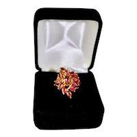 Vintage Ladies Fancy 14K Gold Pink Tourmaline Floral Spray Dinner Ring